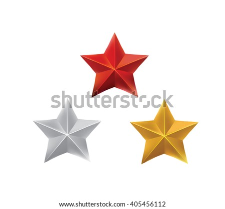 Star set, red, gold and silver, vector eps10 illustration - stock vector
