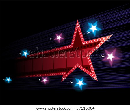 Star shape neon for poster at cinema event - stock vector