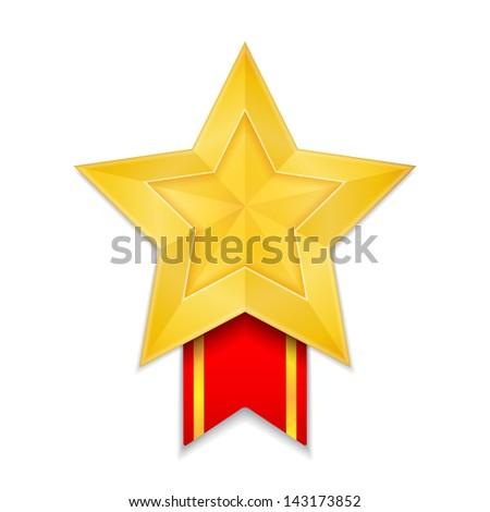Star shaped award, vector eps10 illustration - stock vector