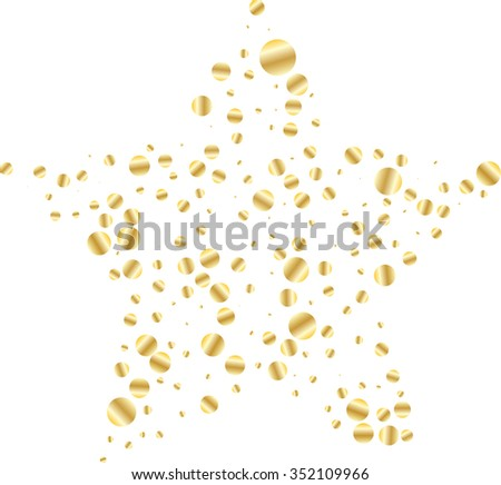 Star Shaped Golden Confetti Stars on White Background - Isolated Asterisks on White Background