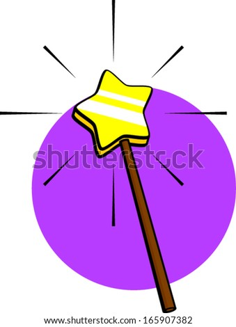 star shaped magic wand - stock vector
