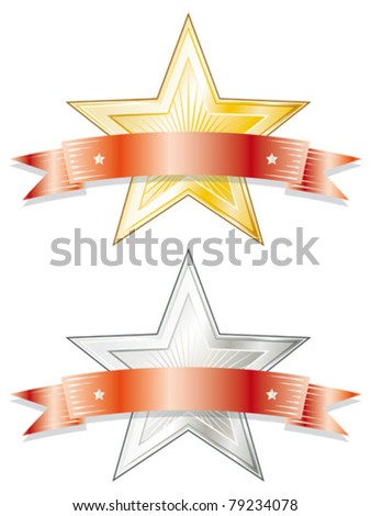 Star shaped metal badge/seal of approval in gold and silver look with a red ribbon on top. - stock vector