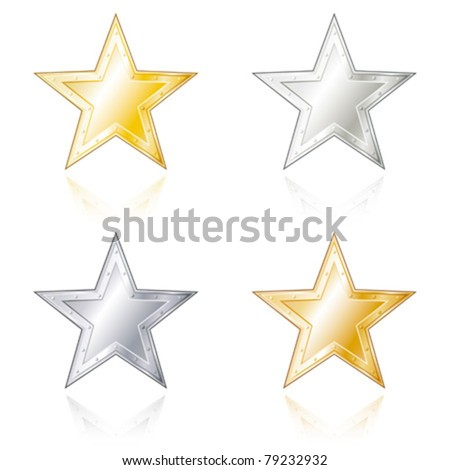 Star shaped metal badges in gold, silver, bronze and steel look. - stock vector