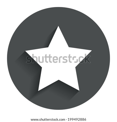 Star sign icon. Favorite button. Navigation symbol. Circle flat button with shadow. Modern UI website navigation. Vector - stock vector