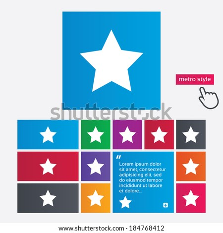 Star sign icon. Favorite button. Navigation symbol. Metro style buttons. Modern interface website buttons with hand cursor pointer. Vector