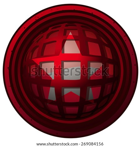 Star Sign on a Round Cage Coated Shield, Vector Illustration isolated on White Background.  - stock vector