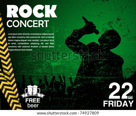 star singer and the crowd of fans - concert poster - stock vector