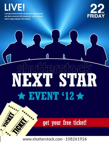 star talent show poster -web and print template - stock vector