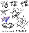 Star Tattoo Set - stock vector