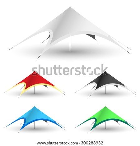 Star Tent on a white background. Set Gazebo Icon Illustration. Vector EPS10. - stock vector