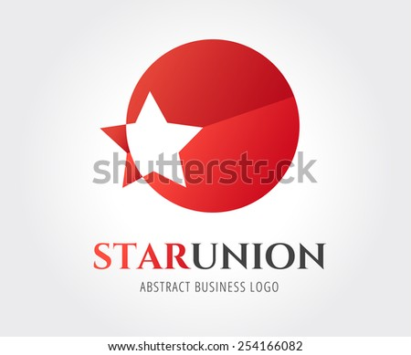 Star vector logo icon template. Leader, winner, boss, rank, medal, sport logo, competition, sky symbol, astrology, military, troops, blue. Logo vector. Logo icon. - stock vector