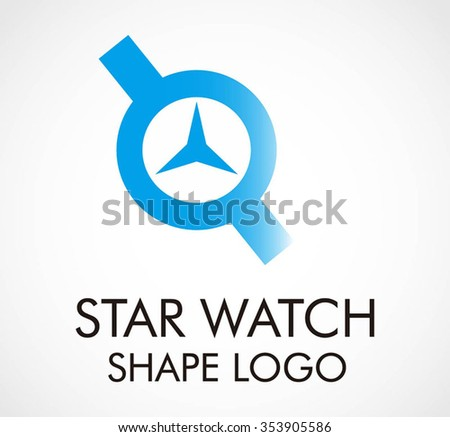 Star watch of technology abstract vector and logo design or template time business icon of company identity symbol concept - stock vector
