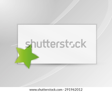 star with blank paper on gray silver background - stock vector