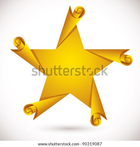 Star with page curls, vector icon. - stock vector