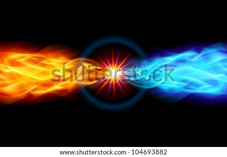 Star with Red and Blue Flame tail in Space