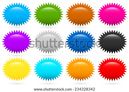 Starburst, flash shapes in 12 colors - stock vector
