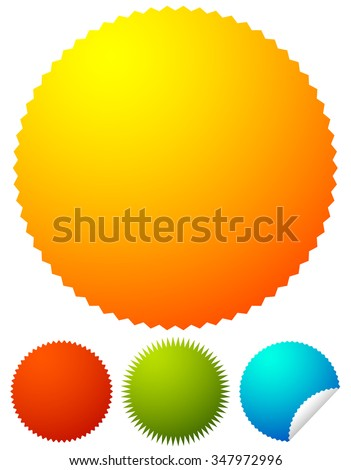 Starburst shapes, badges. Colorful price tags, price flashes w/ blank space. - stock vector