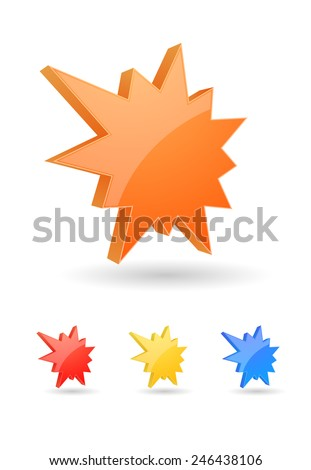 starburst splash icon 3d design - stock vector