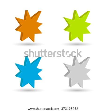 starburst - splash star icon 3d set - stock vector