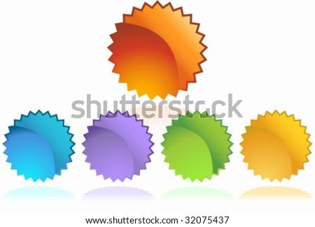 starburst sticker set - stock vector