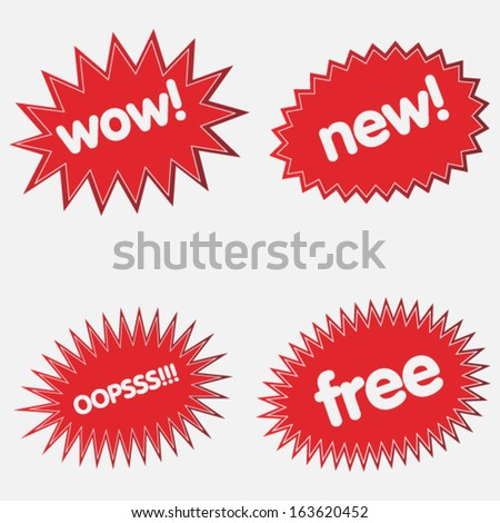 Starbursts set  - stock vector