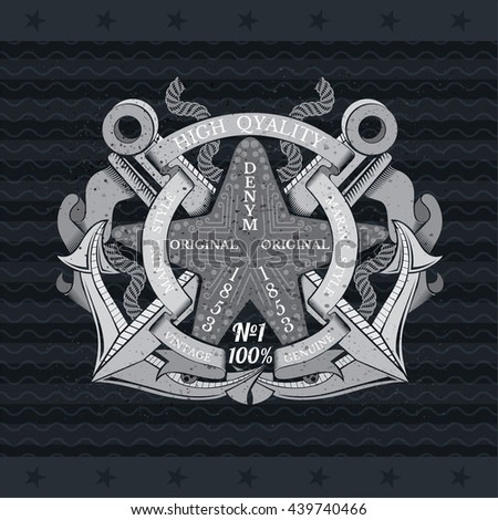 Starfish in center of cross anchors between ropes and flags. Marine vintage label on blackboard - stock vector