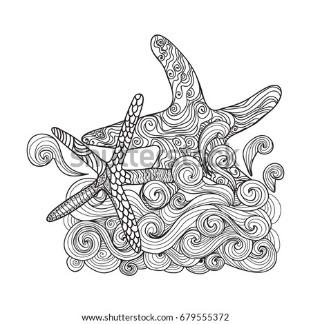 Starfish Sea Animal Coloring Book For Adults Vector Illustration Anti Stress Adult