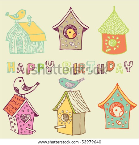 starling-houses. birthday card - stock vector