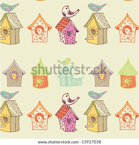 starling-houses seamless - stock vector