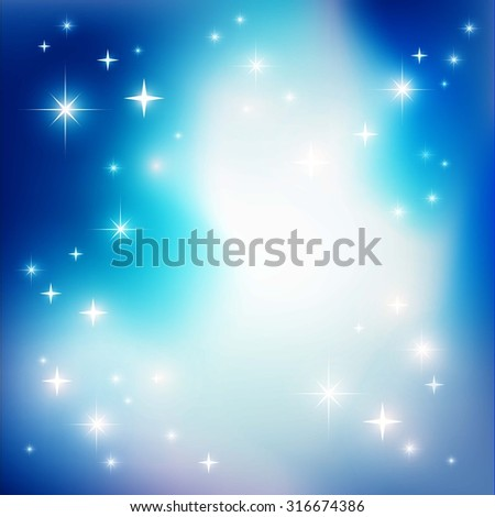 Starry blue background with lights - stock vector