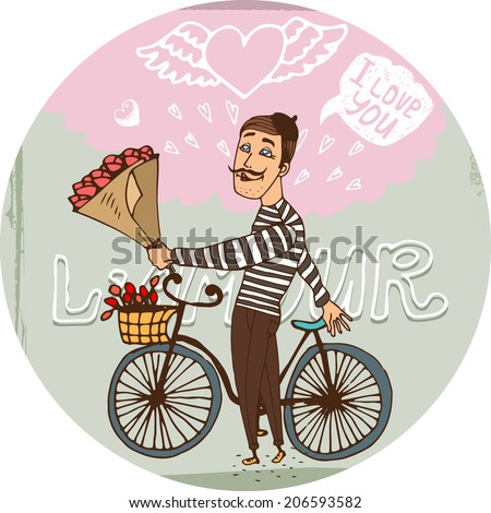 Starry eyed amorous Frenchman on a bicycle with a bouquet red roses serenading his sweetheart as he declares his love for her on Valentines  hand-drawn vector illustration - stock vector