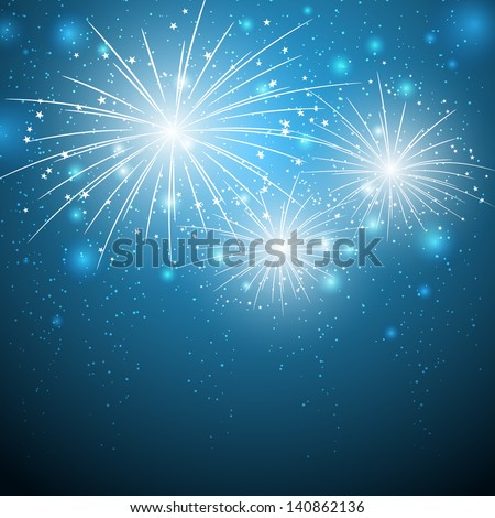 Starry fireworks on blue background
