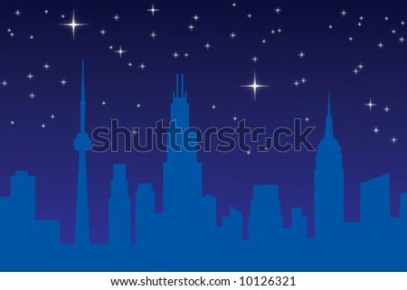 Starry night city skyline - stock vector