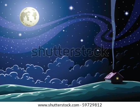 Starry Night in the village - stock vector