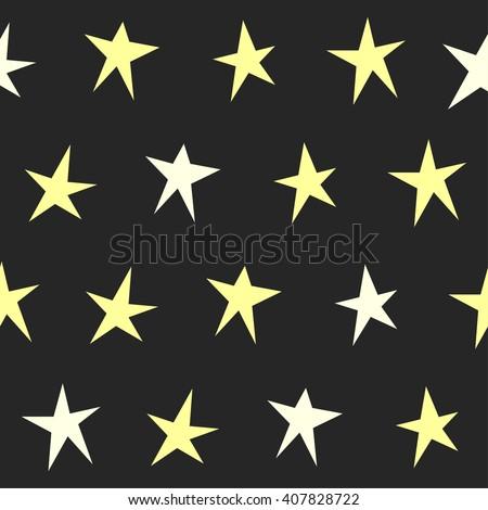 Stars. Abstract stars seamless background.Yellow stars isolated on black. Geometric stars pattern. Soft stars. Childish handmade stars artwork. Simple stars design. Good night and stars theme. - stock vector