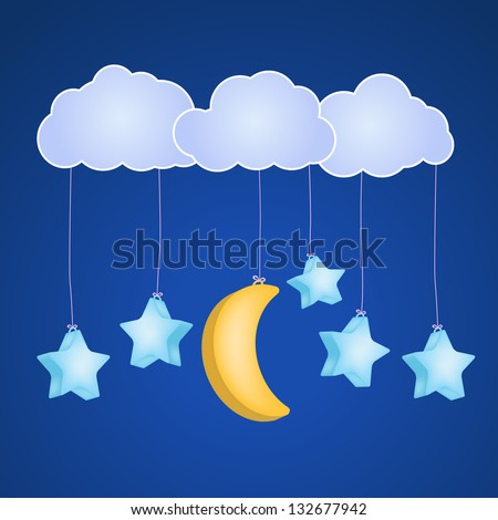 stars and moon hanging on clouds  as childish background - stock vector