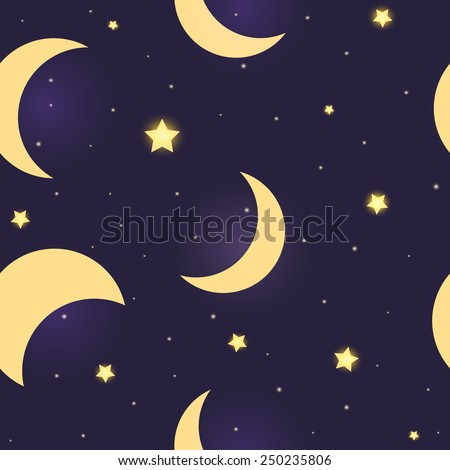 Stars and moon seamless pattern