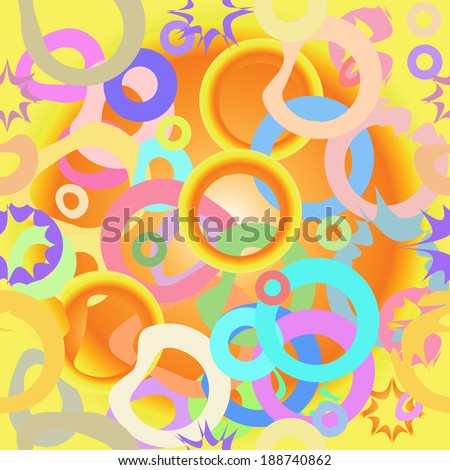 Stars and ovals on a light gradient background.  Multicolored seamless pattern.