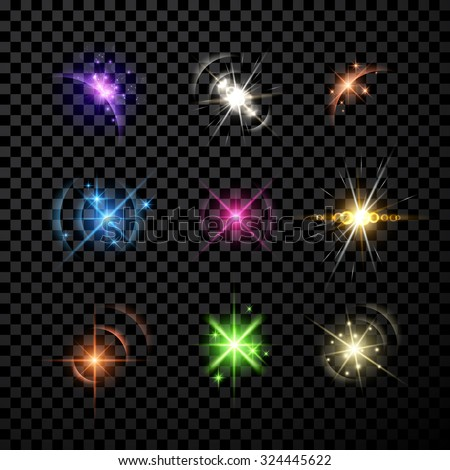 Stars and planet set isolated on black background. Vector Illustration. - stock vector