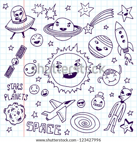 Stars and planets. Doodle set. School notebook.