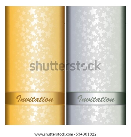 Stars and ribbons on gold and silver background. Standard-sized cards