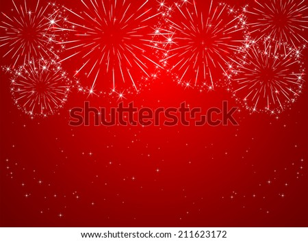 Stars and shiny fireworks on red background, illustration. - stock vector