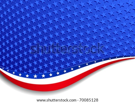 Stars and Stripes Background Landscape - There are more stars outside the mask, for you to mask as you like. All elements are grouped and on individual layers in the vector file for easy use. - stock vector