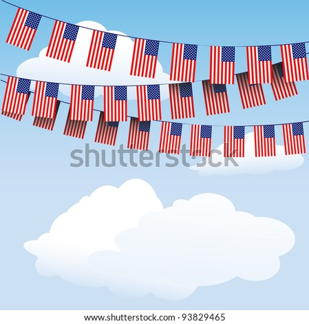 Stars and Stripes bunting on cloud background with space for your text. EPS10 vector format - stock vector