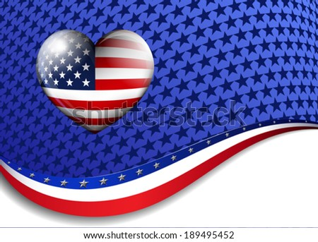 STARS and STRIPES HEART - American Background with a heart - stock vector