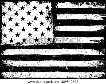 Stars and stripes. Monochrome Negative Photocopy American Flag Background. Grunge Aged VectorTemplate. Horizontal orientation. - stock vector