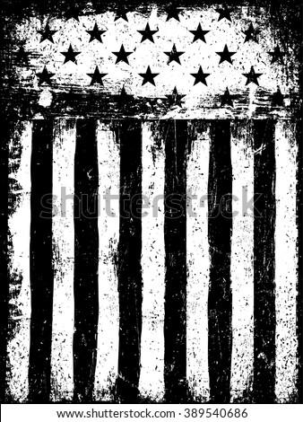 Stars and Stripes. Monochrome Negative Photocopy American Flag Background. Grunge Aged Vector Template. Vertical orientation. - stock vector
