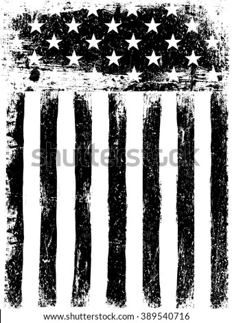 Stars and Stripes. Monochrome Photocopy American Flag Background. Grunge Aged Vector Template. Vertical orientation. - stock vector