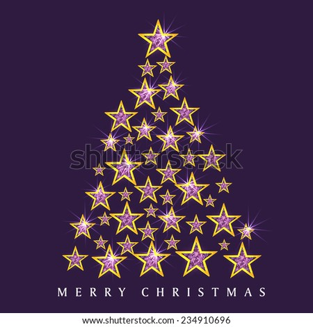 Stars decorated shiny X-mas Tree for Merry Christmas celebration on purple background. - stock vector