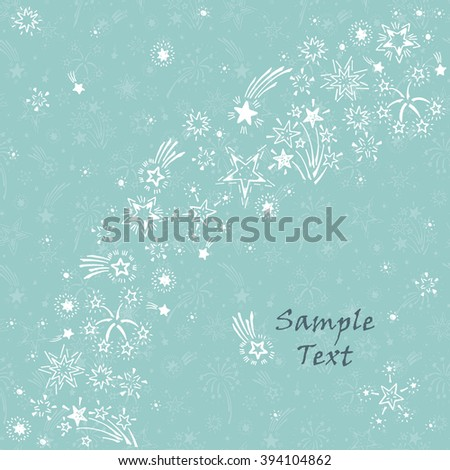 Hand Drawn Doodle Fireworks Stars Holiday Stock Vector 394104889